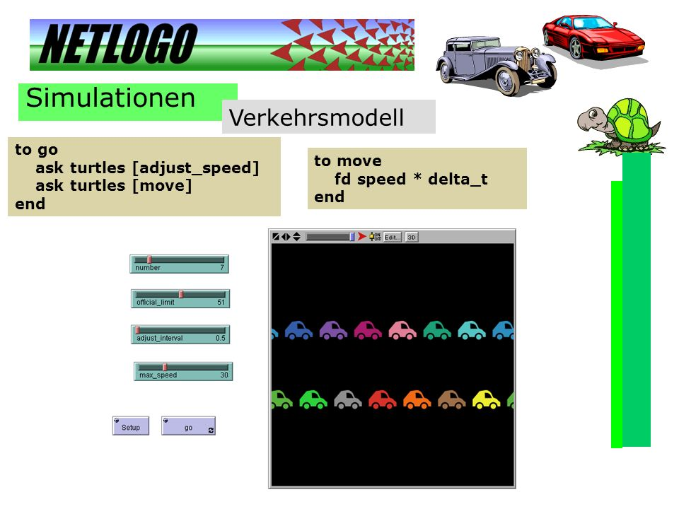 Simulationen Verkehrsmodell to go ask turtles [adjust_speed] to move